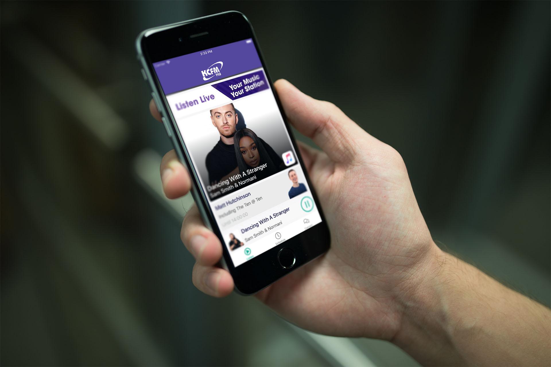 KCFM App On A Phone